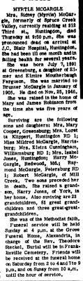Obit of Sidney Myrtle Ferguson - Newspapers.com