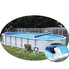 above ground pool solar covers. FeherGuard Premium Solar Cover Reel Installed On Oval Pool. Pool Above Ground Covers