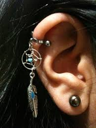 Dream Catcher Helix Earring 100 Gauge Cartilage Helix Industrial Dream Catcher Charm 7