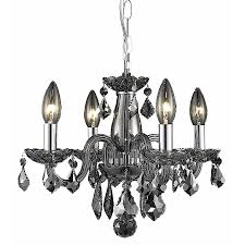 elegant lighting rococo 15 in 4 light silver shade crystal crystal candle chandelier