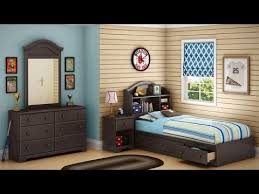 South Shore Summer Breeze Collection Twin Bookcase Headboard Country Style Bedroom  Set In Chocolate