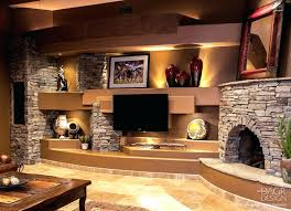 rustic media center rustic style custom drywall home media wall with natural stone fireplace and lighted