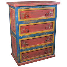 mexican painted furnitureMexican 4Drawer Painted Wood Dresser  Red Yellow and Blue