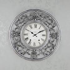 ornate clock antique silver