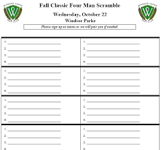 Tournament Sign Up Sheets Miscellaneous Reports