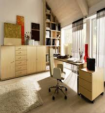 Simple small home office design Layout Simple Loft Home Office With Modern Mdf Furniture Set And Small Swivel Chair Mavrome Simple Loft Home Office With Modern Mdf Furniture Set And Small