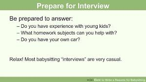 What To Do When Your Babysitting How To Write A Resume For Babysitting With Pictures Wikihow