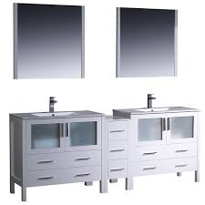 fresca torino 84 inch white modern double sink bathroom vanity with side cabinet and undermount sinks free today 7456559