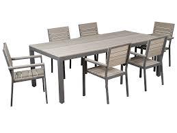 Mesa y sillas de aluminio y sintético para terraza