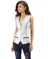 silver metallic leather vest