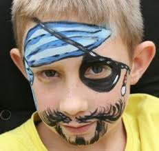 face painting of pirate with mustache and beard blue and white bandana and eye patch