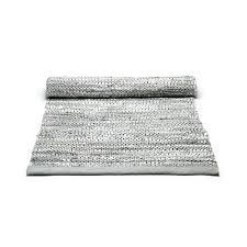leather rug light grey