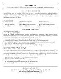Food And Beverage Manager Resume Examples Free Resume Example