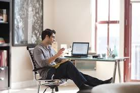 working for home office. Man Working From Home For Office T