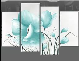 >wall art top 10 sample images blue canvas wall art blue and white  duck egg blue large poppy with buds in 4 panel blue flowers on white canvas wall