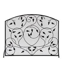 wrought iron leaves single panel fireplace screen