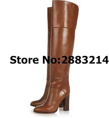 brown leather thigh high long boots chunky heels motorcycle boots shoes high heels shoes autumn winter woman round toe boots boots for men girls boots from