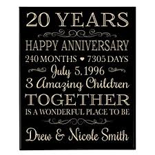personalized 20th anniversary gifts ideas for couple happy 20 year anniversary gift for her and