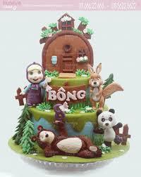 Bánh sinh nhật tạo hình Cô bé Masha và chú Gấu xiếc tặng sinh nhật bé gái  6168 - Bánh fondant