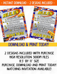 Party On Designs Etsy Dart Wars Birthday Party Rules Sign 2 Designs Included Birthday Party Supplies Download Print Today Battle Rules Sign
