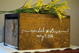 wood wedding card box with slot money holder personalized rustic unique woo