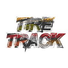 <b>Tire track</b> grunge black text with tires silhouettes different colors ...