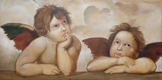 raphael angels by topalski oil on canvas 100x50cm