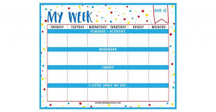 Weekly Planner Printable For Kids