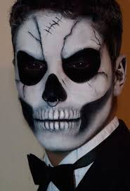 wicked skull makeup for men and a nose piercing