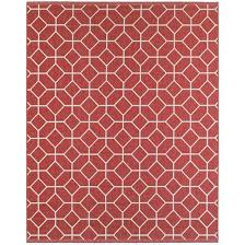 outdoor rug with geometrical design 8 x 10 red