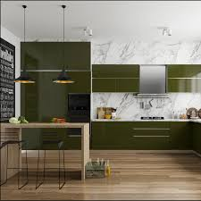 Modular Kitchen With Dining Design Delicious Olive Green Modular Kitchen With Sleek Seating