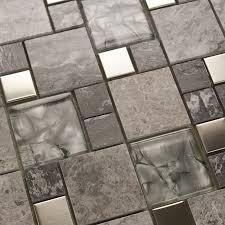 metal mosaic tile mirror kitchen backsplash metal crystal glass stone blend bathroom wall tile design deco mesh sheets 9486