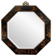 Small Picture Lacquer Octagonal Mirror Black Asian Wall Mirrors by