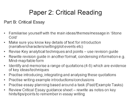 n prelim revision and preparation paper reading for  paper 2 critical reading part b critical essay familiarise yourself the main ideas