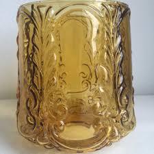 vintage amber glass barrel shaped decorative glass lamp shade 6