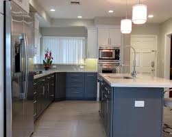 contemporary kitchens with dark cabinets. Contemporary Kitchen With High Ceilings Light Wood Floors And Dark Cabinets Kitchens L
