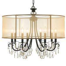 drum shade crystal chandelier s black silver and rich rainfall flush mount light ceiling