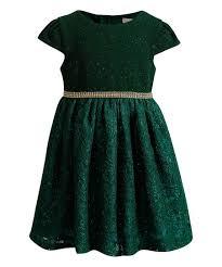 Youngland Green Glitter Lace Cap Sleeve Dress Toddler