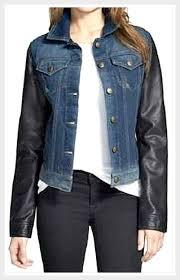 high quality faux leather sleeve denim designer jean jacket