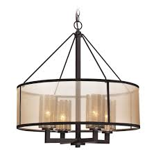 Oil Rubbed Bronze Kitchen Lighting Close To Ceiling Light Drum Pendant Light With Beige Cream Shades