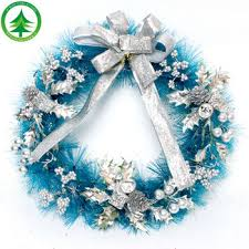 artificial bulk wholesale silver ribbon, blue Christmas wreath decoration  Color size can customize picks christmas