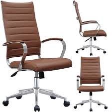 2xhome modern brown high back office chair ribbed pu leather swivel tilt conference room computer