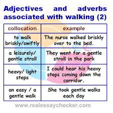 top collocations about walking used in ielts and pte real essay  238 adjectives and adverbs associated walking 2