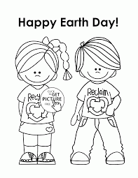 Happy Kids Earth Day Coloring Page