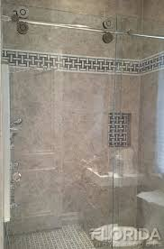 rolling shower door with chrome hardware and clear glass