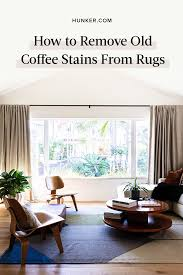 To remove coffee stains from your carpet, mix one tablespoon of white vinegar, one tablespoon of liquid dish soap, and two cups of warm water. Simple Solution To Magically Remove Old Coffee Stains From Rugs Hunker Coffee Staining Rug Stain Stain Remover Carpet