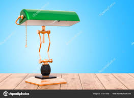 vintage bankers table lamp with green shade on the wooden table 3d rendering photo by alexlmx
