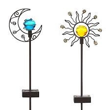 2PACK 4LED Super Bright Solar Globe Stake Light Set Sogrand Solar Solar Landscape Lighting Stakes