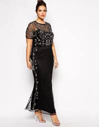 Plus Beaded Neckline Maxi Dress