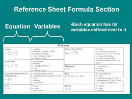 5 reference sheet formula section equationvariables each equation has its variables defined next to it